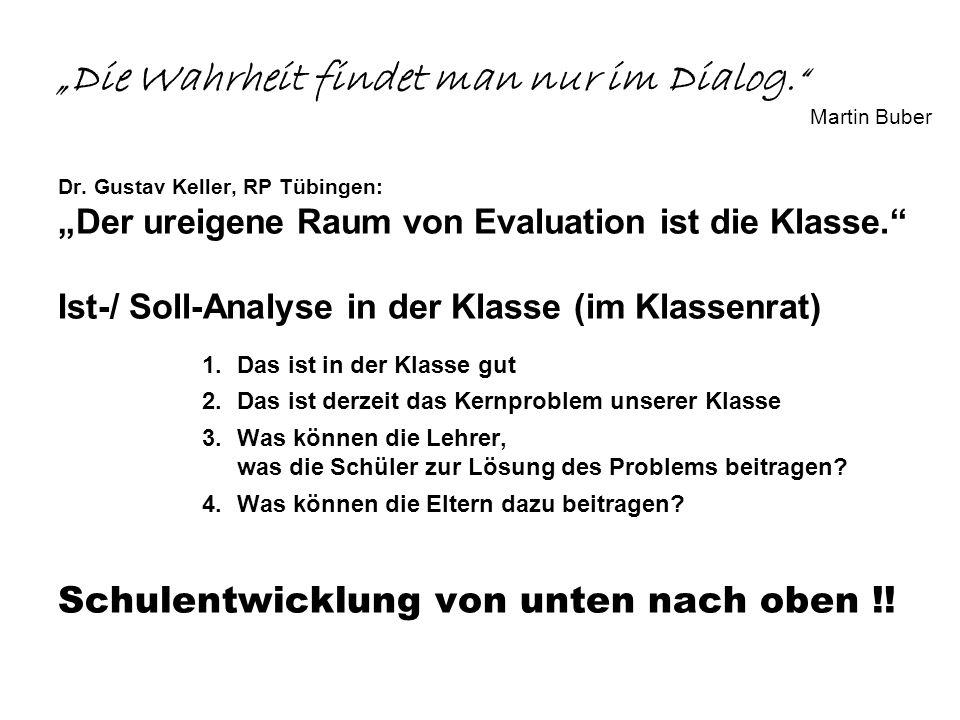 Die Wahrheit findet man nur im Dialog. Martin Buber Dr. Gustav Keller, RP Tübingen: Der ureigene Raum von Evaluation ist die Klasse. Ist-/ Soll-Analys