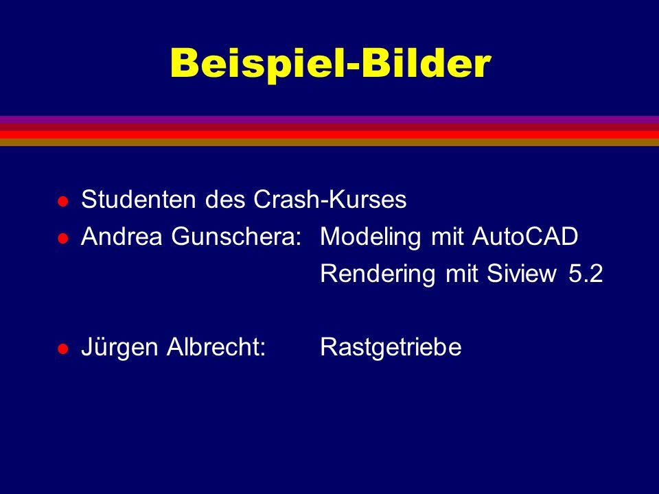 Beispiel-Bilder l Studenten des Crash-Kurses l Andrea Gunschera: Modeling mit AutoCAD Rendering mit Siview 5.2 l Jürgen Albrecht: Rastgetriebe