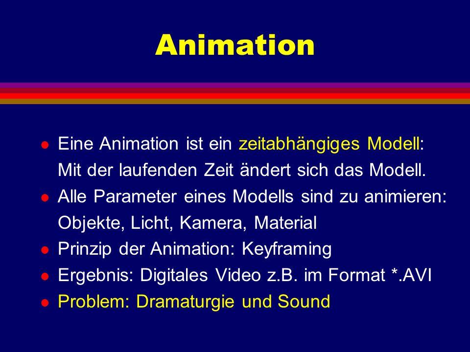 Animation l Eine Animation ist ein zeitabhängiges Modell: Mit der laufenden Zeit ändert sich das Modell. l Alle Parameter eines Modells sind zu animie