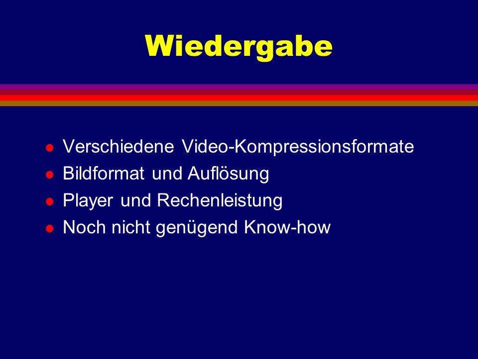 Wiedergabe l Verschiedene Video-Kompressionsformate l Bildformat und Auflösung l Player und Rechenleistung l Noch nicht genügend Know-how