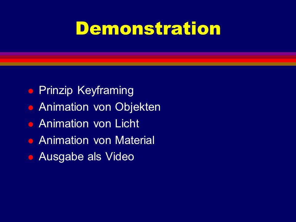 Demonstration l Prinzip Keyframing l Animation von Objekten l Animation von Licht l Animation von Material l Ausgabe als Video