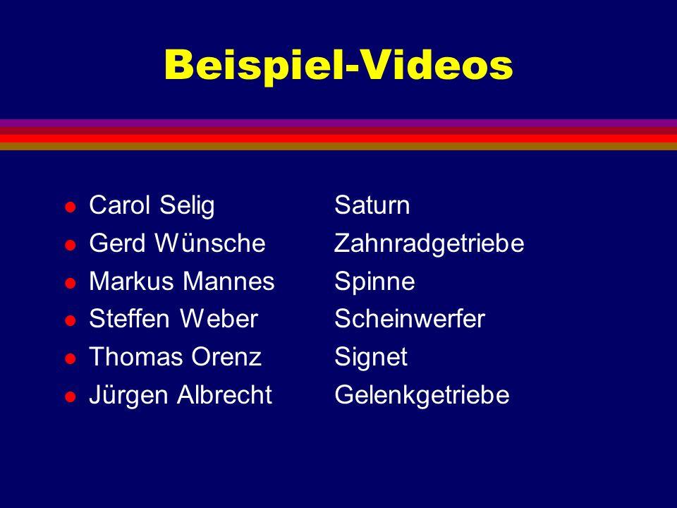 Beispiel-Videos l Carol SeligSaturn l Gerd WünscheZahnradgetriebe l Markus Mannes Spinne l Steffen WeberScheinwerfer l Thomas OrenzSignet l Jürgen Alb