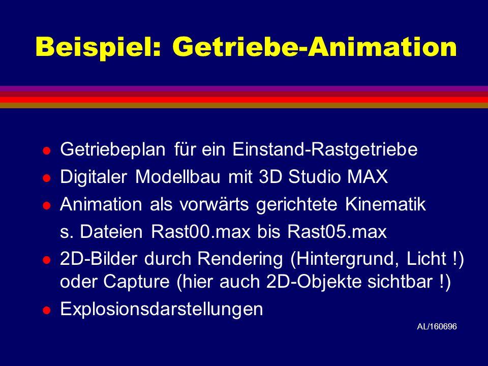 Beispiel: Getriebe-Animation l Getriebeplan für ein Einstand-Rastgetriebe l Digitaler Modellbau mit 3D Studio MAX l Animation als vorwärts gerichtete