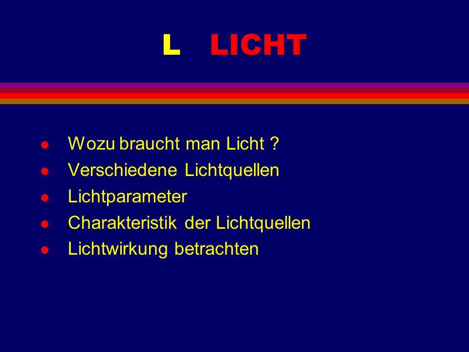 L LICHT l Wozu braucht man Licht ? l Verschiedene Lichtquellen l Lichtparameter l Charakteristik der Lichtquellen l Lichtwirkung betrachten