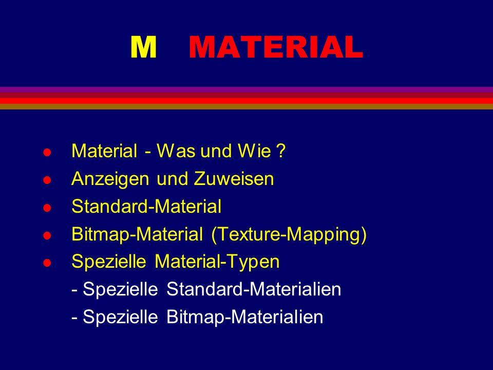 M MATERIAL l Material - Was und Wie ? l Anzeigen und Zuweisen l Standard-Material l Bitmap-Material (Texture-Mapping) l Spezielle Material-Typen - Spe