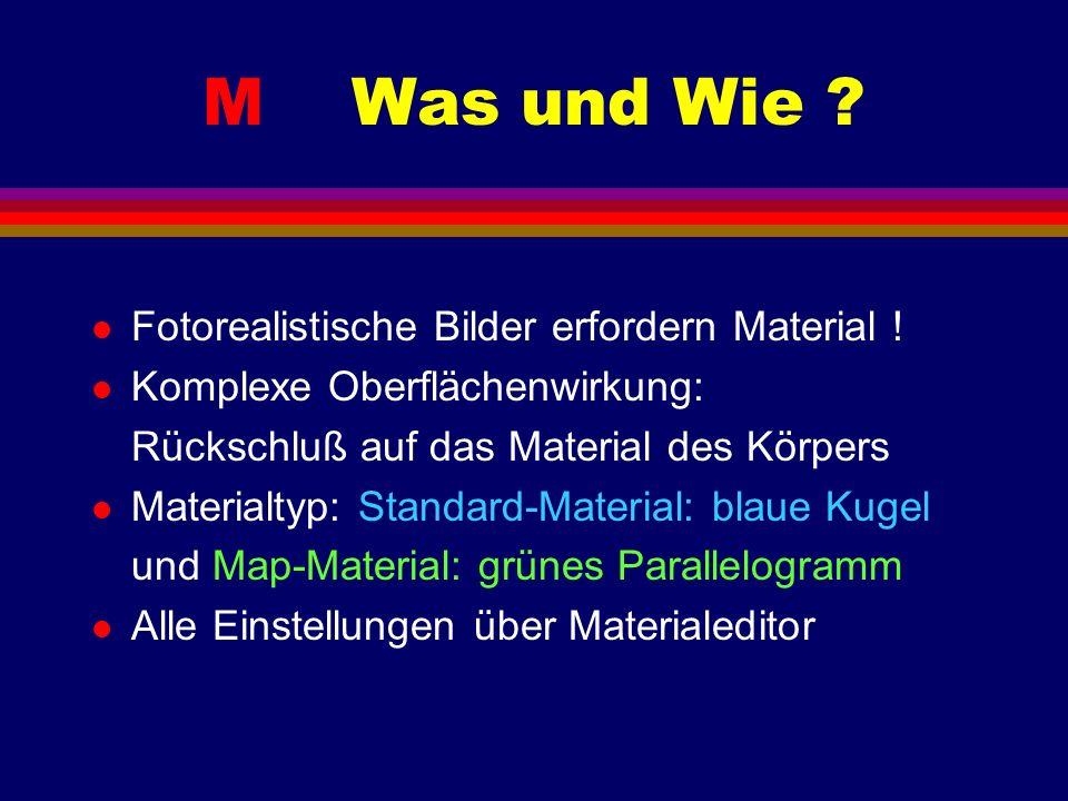 M Was und Wie ? l Fotorealistische Bilder erfordern Material ! l Komplexe Oberflächenwirkung: Rückschluß auf das Material des Körpers l Materialtyp: S