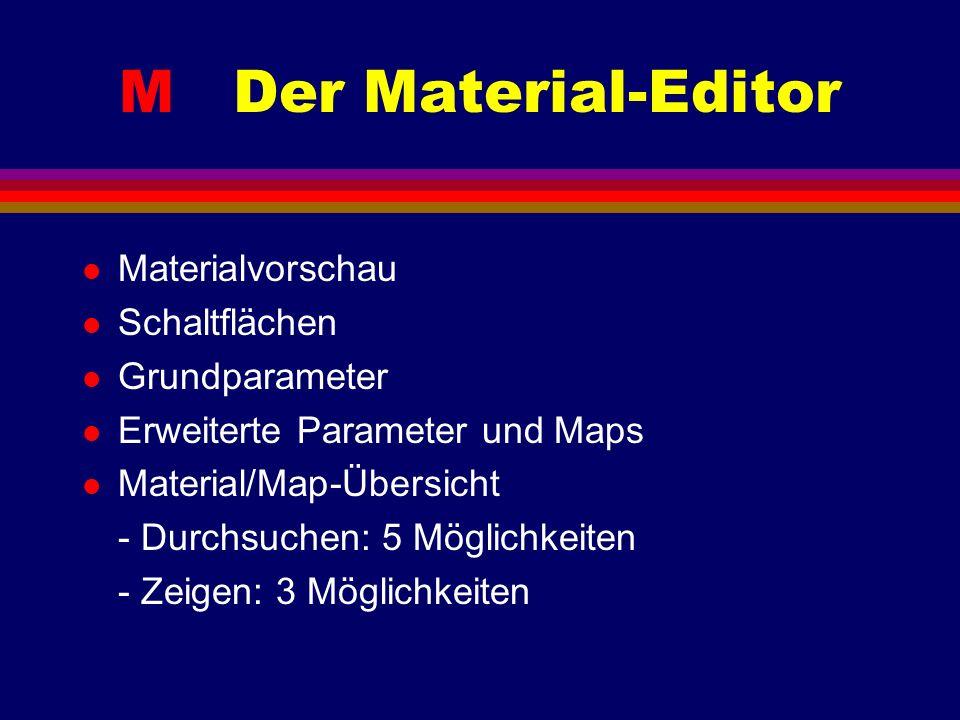 M Der Material-Editor l Materialvorschau l Schaltflächen l Grundparameter l Erweiterte Parameter und Maps l Material/Map-Übersicht - Durchsuchen: 5 Möglichkeiten - Zeigen: 3 Möglichkeiten
