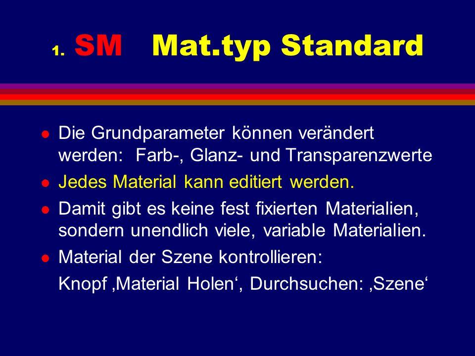 1. SM Mat.typ Standard l Die Grundparameter können verändert werden:Farb-, Glanz- und Transparenzwerte l Jedes Material kann editiert werden. l Damit