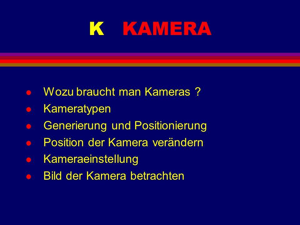 K KAMERA l Wozu braucht man Kameras ? l Kameratypen l Generierung und Positionierung l Position der Kamera verändern l Kameraeinstellung l Bild der Ka