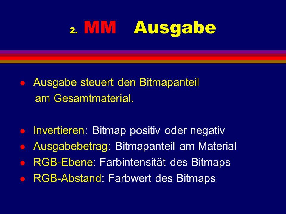 2. MM Ausgabe l Ausgabe steuert den Bitmapanteil am Gesamtmaterial. l Invertieren: Bitmap positiv oder negativ l Ausgabebetrag: Bitmapanteil am Materi