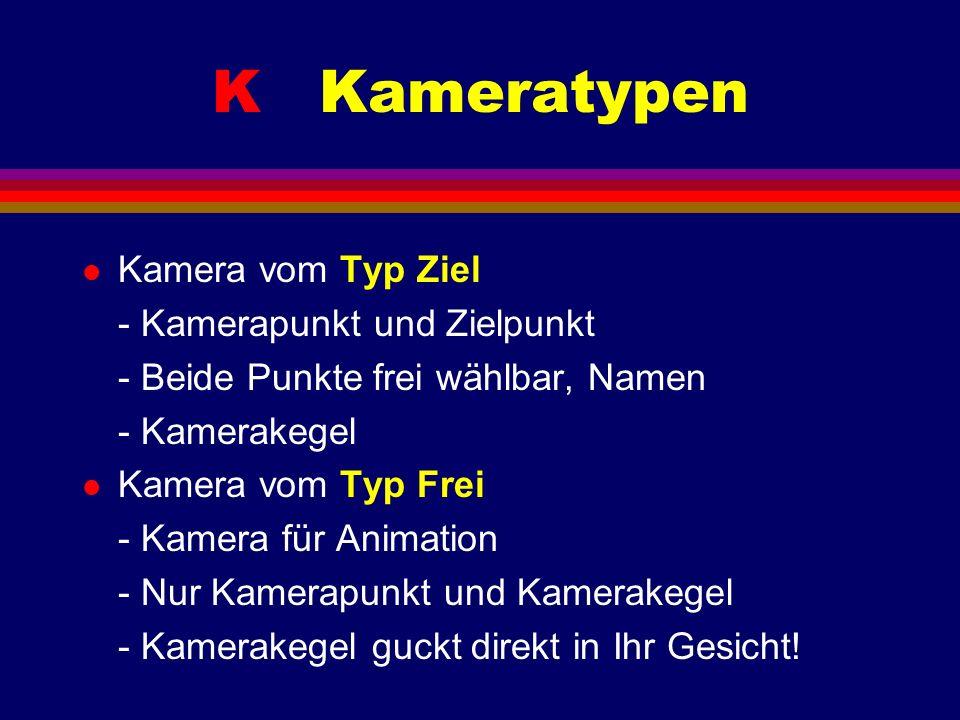 K Kameratypen l Kamera vom Typ Ziel - Kamerapunkt und Zielpunkt - Beide Punkte frei wählbar, Namen - Kamerakegel l Kamera vom Typ Frei - Kamera für An