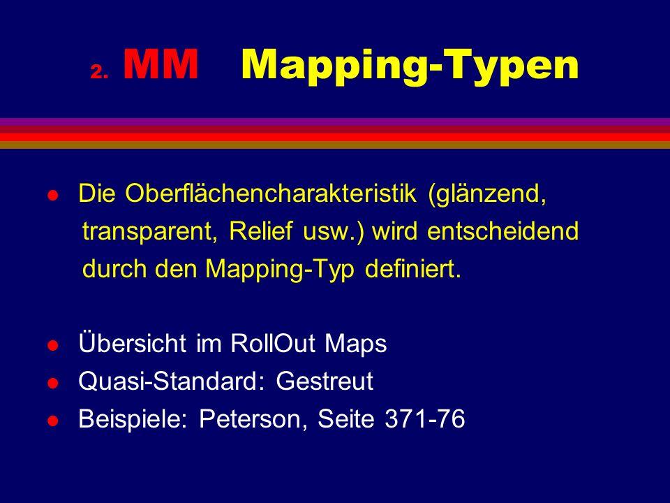 2. MM Mapping-Typen l Die Oberflächencharakteristik (glänzend, transparent, Relief usw.) wird entscheidend durch den Mapping-Typ definiert. l Übersich