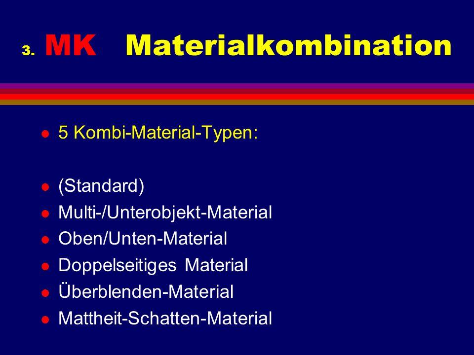 3. MK Materialkombination l 5 Kombi-Material-Typen: l (Standard) l Multi-/Unterobjekt-Material l Oben/Unten-Material l Doppelseitiges Material l Überb