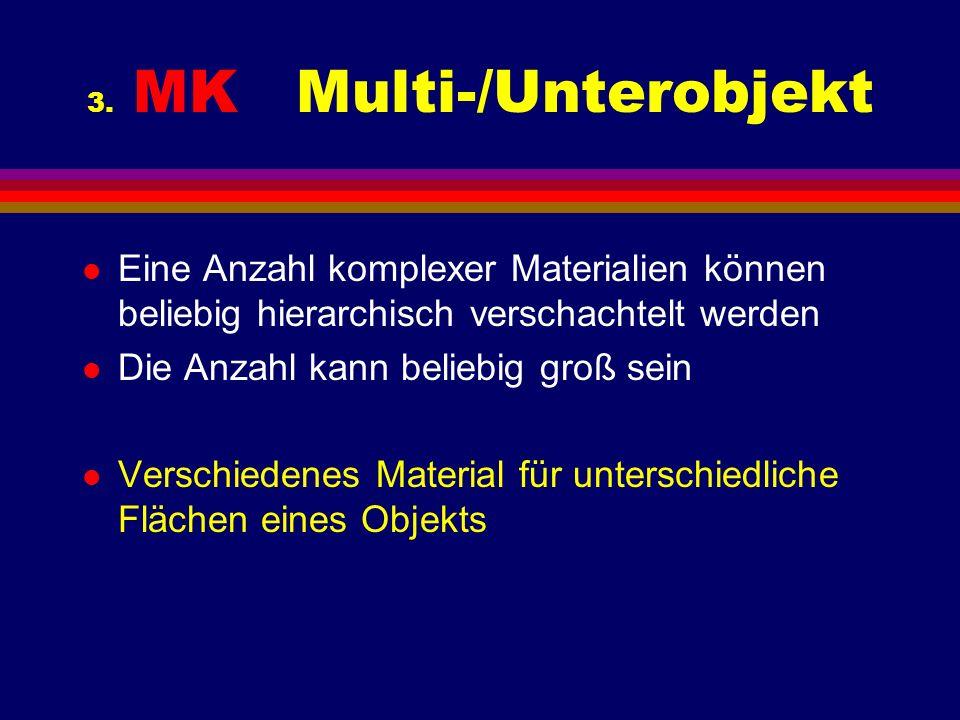 3. MK Multi-/Unterobjekt l Eine Anzahl komplexer Materialien können beliebig hierarchisch verschachtelt werden l Die Anzahl kann beliebig groß sein l