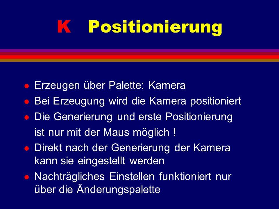 K Positionierung l Erzeugen über Palette: Kamera l Bei Erzeugung wird die Kamera positioniert l Die Generierung und erste Positionierung ist nur mit d