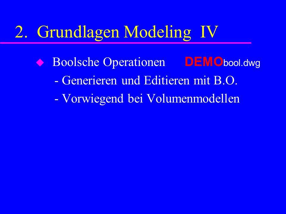 2. Grundlagen Modeling IV Boolsche Operationen DEMO bool.dwg - Generieren und Editieren mit B.O.