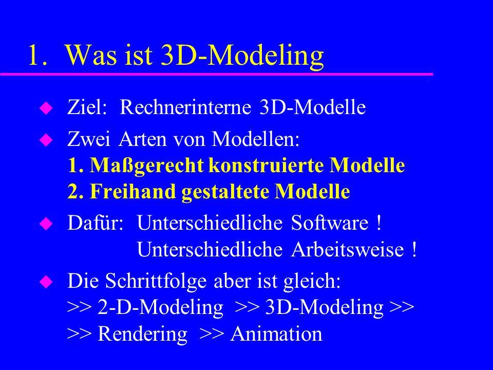 1. Was ist 3D-Modeling Ziel: Rechnerinterne 3D-Modelle Zwei Arten von Modellen: 1.