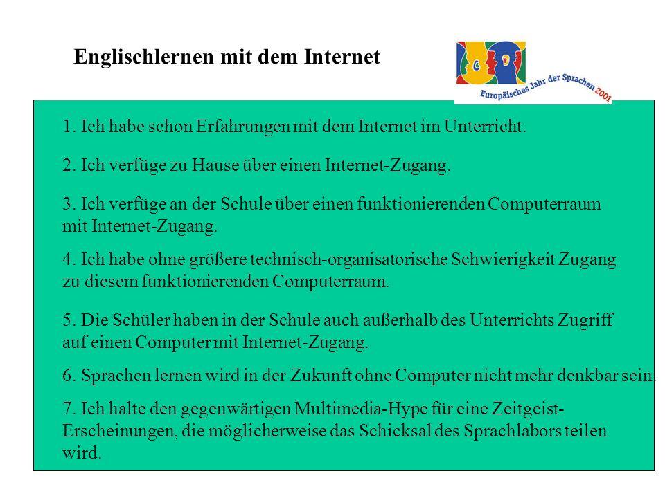 Englischlernen mit dem Internet 1. Ich habe schon Erfahrungen mit dem Internet im Unterricht.