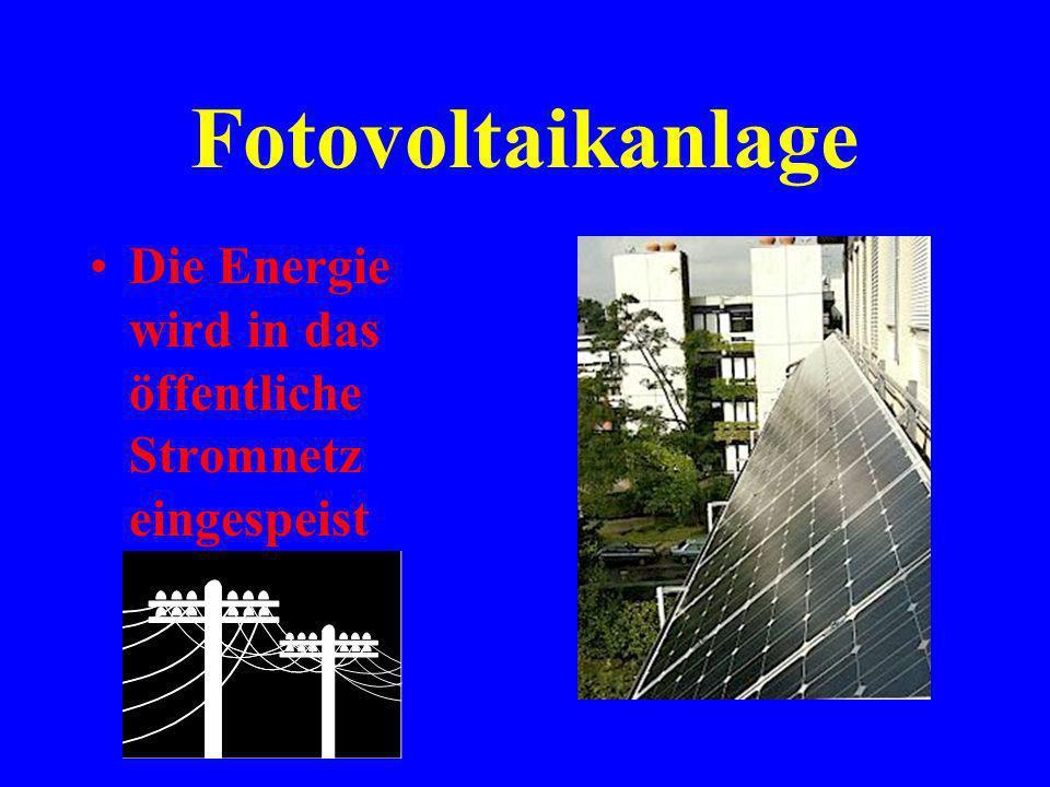 Fotovoltaikanlage Energieertrag im Jahr: ca. 2800 kWh Das entspricht dem Verbrauch eines 3-Personen- Haushaltes