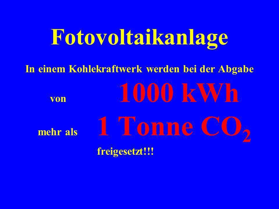 Seit dem 8. August 2000 haben wir eine Energiemenge von etwa 1000 kWh geerntet.