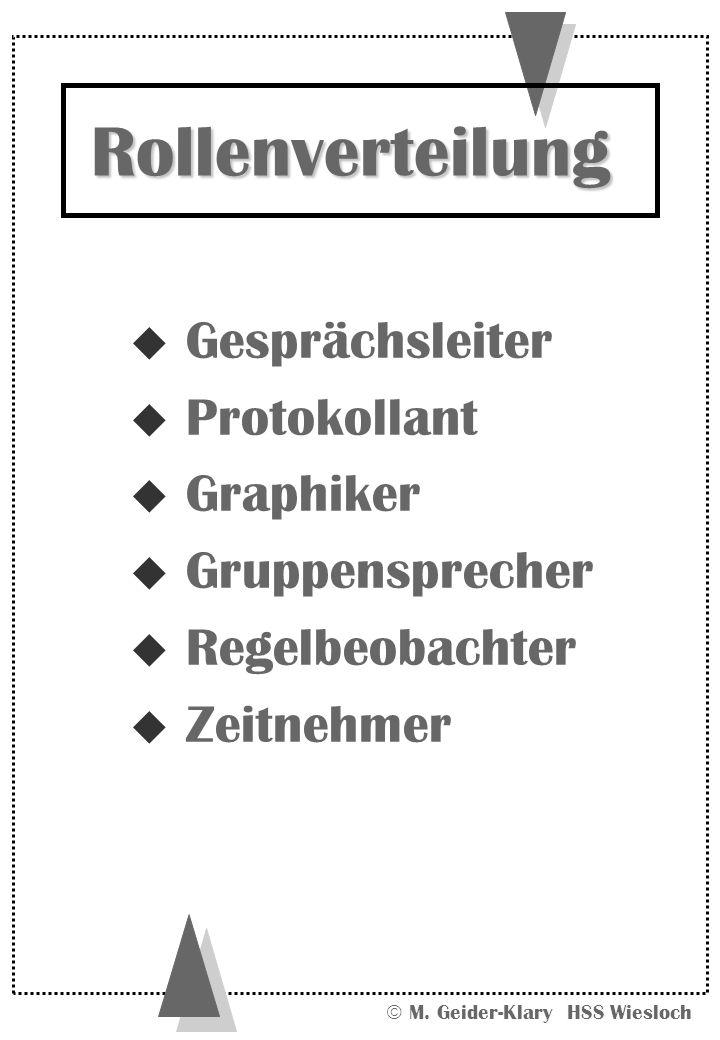 M. Geider-Klary HSS Wiesloch u Gesprächsleiter u Protokollant u Graphiker u Gruppensprecher u Regelbeobachter u Zeitnehmer Rollenverteilung