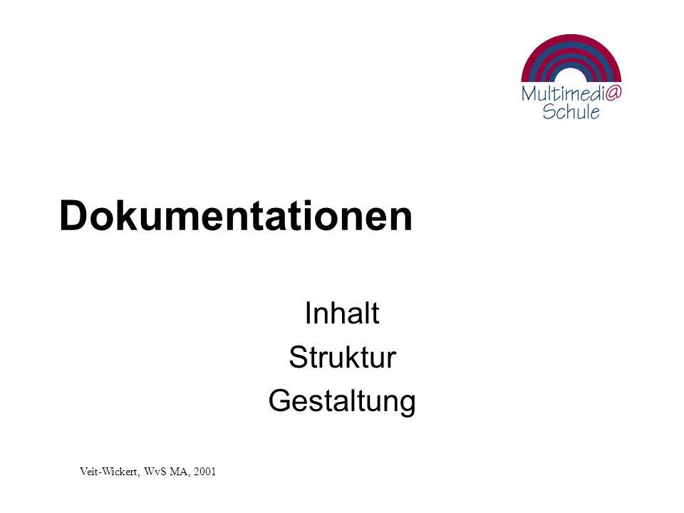 Dokumentationen Inhalt Struktur Gestaltung Veit-Wickert, WvS MA, 2001