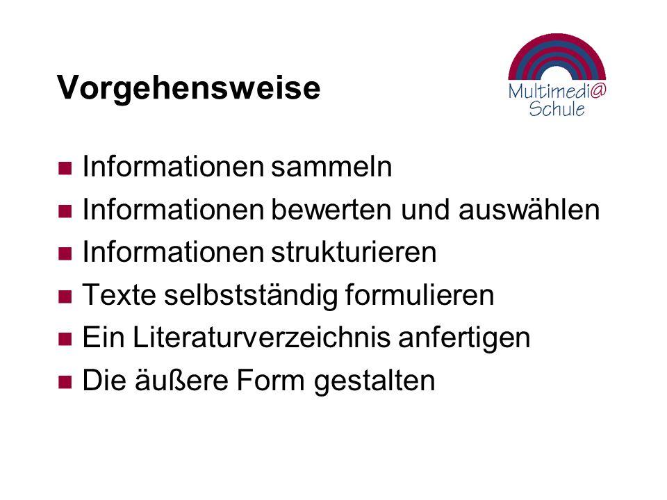 Vorgehensweise n Informationen sammeln n Informationen bewerten und auswählen n Informationen strukturieren n Texte selbstständig formulieren n Ein Literaturverzeichnis anfertigen n Die äußere Form gestalten