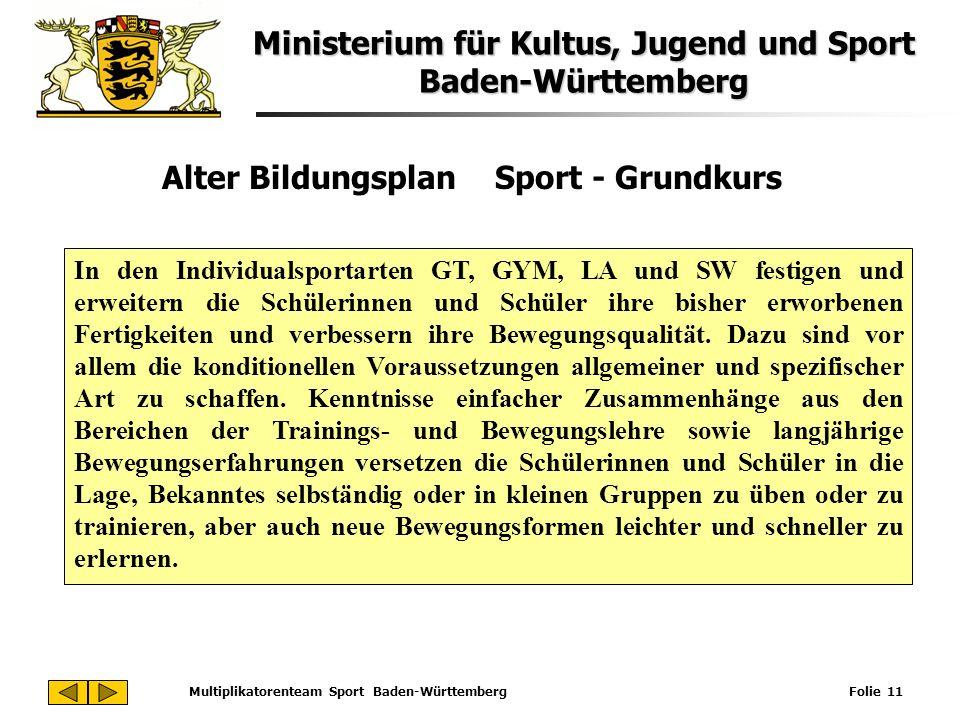 Ministerium für Kultus, Jugend und Sport Baden-Württemberg Multiplikatorenteam Sport Baden-Württemberg Folie 11 Alter Bildungsplan Sport - Grundkurs I