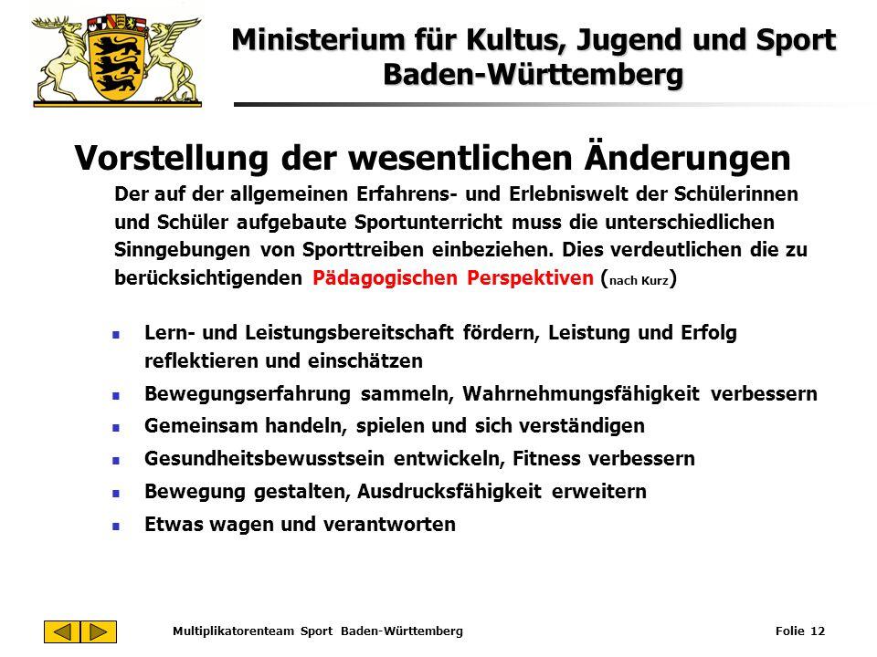 Ministerium für Kultus, Jugend und Sport Baden-Württemberg Multiplikatorenteam Sport Baden-Württemberg Folie 12 Vorstellung der wesentlichen Änderunge
