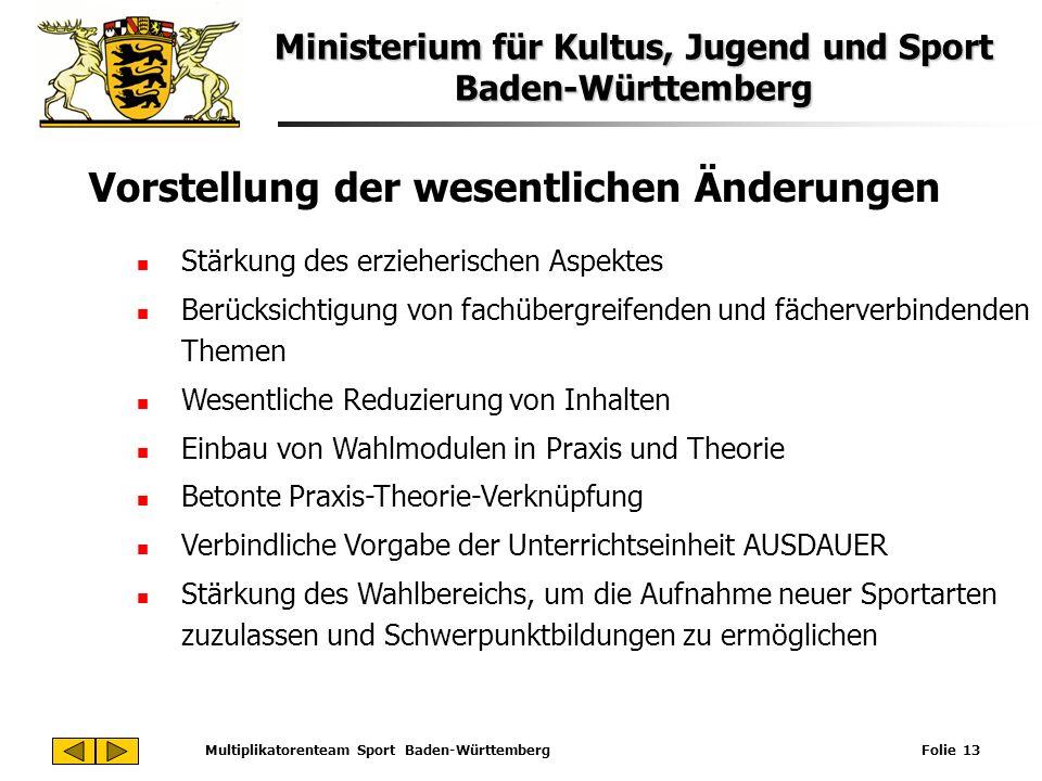 Ministerium für Kultus, Jugend und Sport Baden-Württemberg Multiplikatorenteam Sport Baden-Württemberg Folie 13 Vorstellung der wesentlichen Änderunge