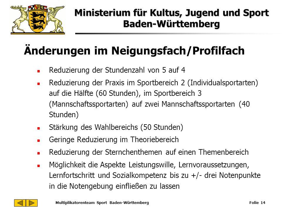 Ministerium für Kultus, Jugend und Sport Baden-Württemberg Multiplikatorenteam Sport Baden-Württemberg Folie 14 Änderungen im Neigungsfach/Profilfach