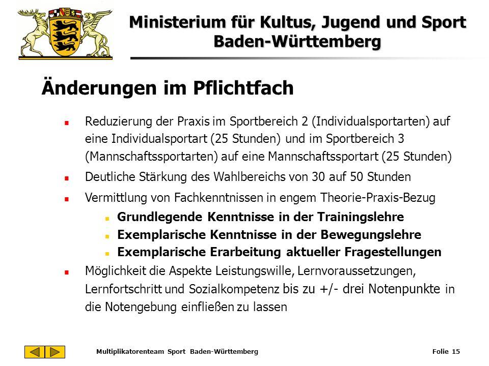 Ministerium für Kultus, Jugend und Sport Baden-Württemberg Multiplikatorenteam Sport Baden-Württemberg Folie 15 Änderungen im Pflichtfach Reduzierung