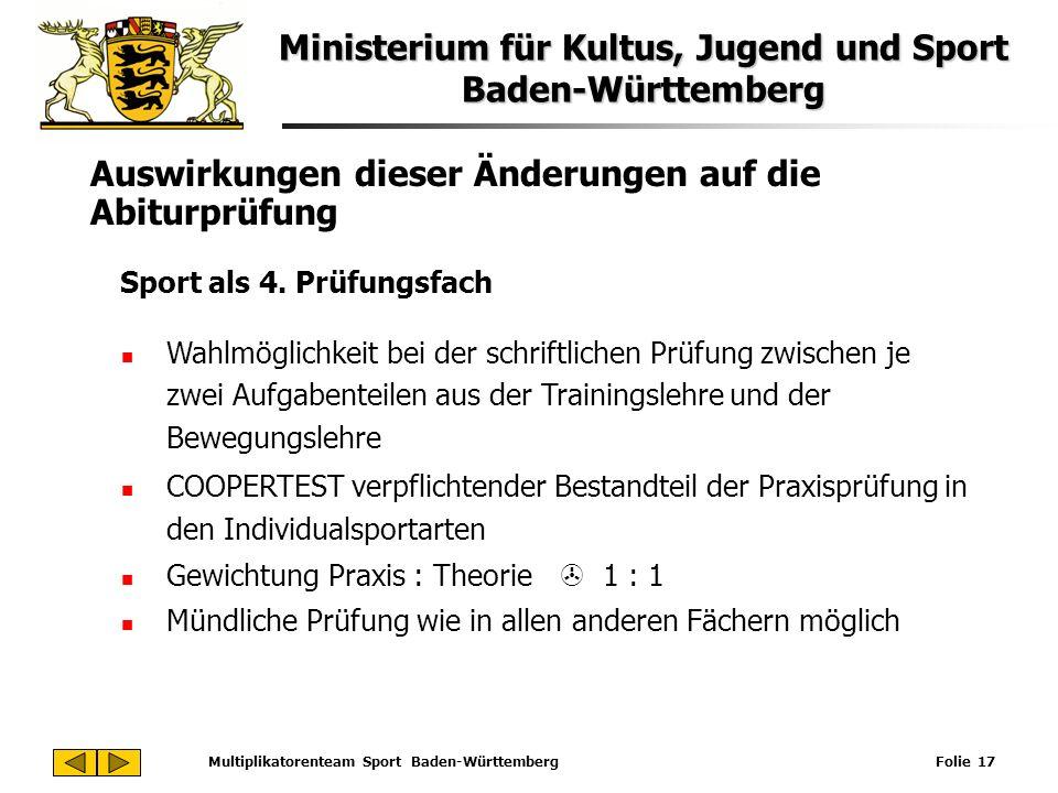 Ministerium für Kultus, Jugend und Sport Baden-Württemberg Multiplikatorenteam Sport Baden-Württemberg Folie 17 Auswirkungen dieser Änderungen auf die