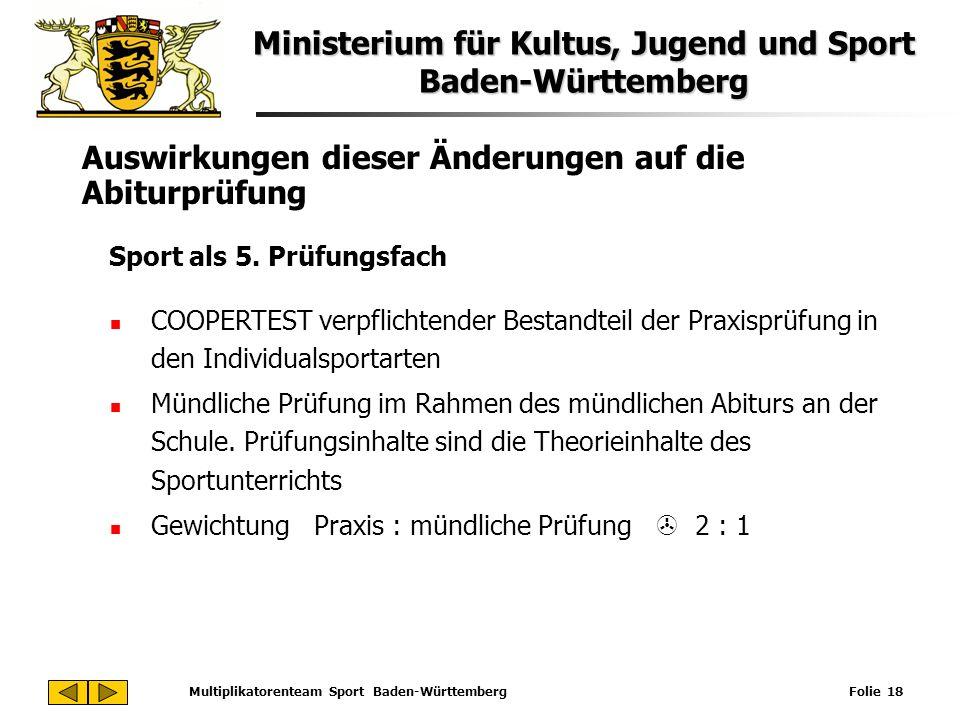 Ministerium für Kultus, Jugend und Sport Baden-Württemberg Multiplikatorenteam Sport Baden-Württemberg Folie 18 Auswirkungen dieser Änderungen auf die