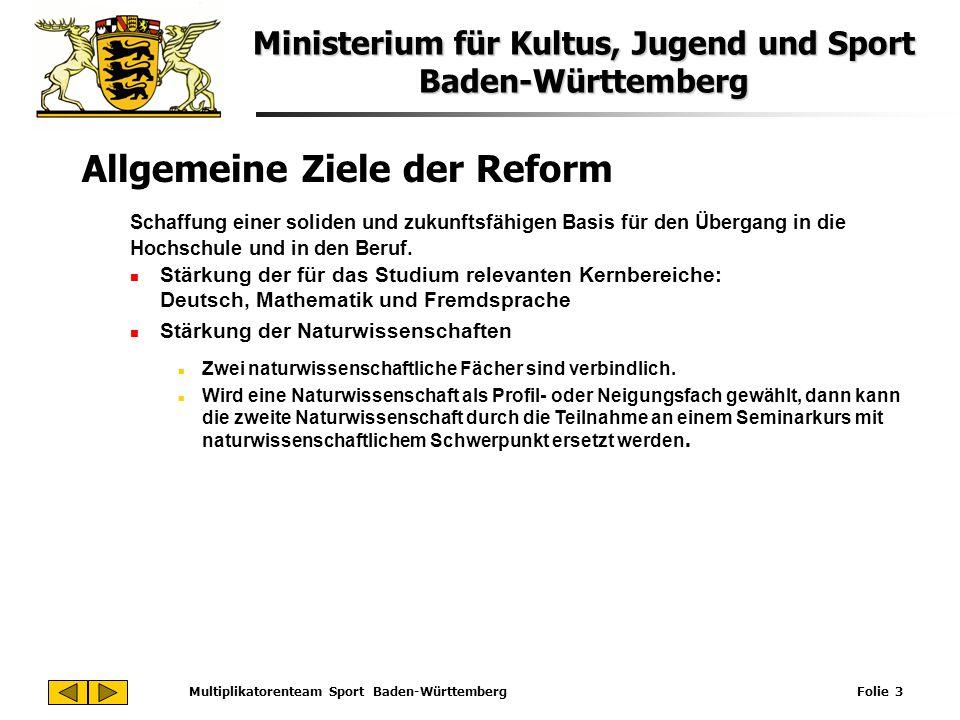 Ministerium für Kultus, Jugend und Sport Baden-Württemberg Multiplikatorenteam Sport Baden-Württemberg Folie 3 Allgemeine Ziele der Reform Schaffung e