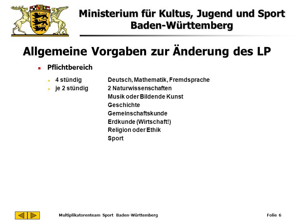 Ministerium für Kultus, Jugend und Sport Baden-Württemberg Multiplikatorenteam Sport Baden-Württemberg Folie 6 Allgemeine Vorgaben zur Änderung des LP
