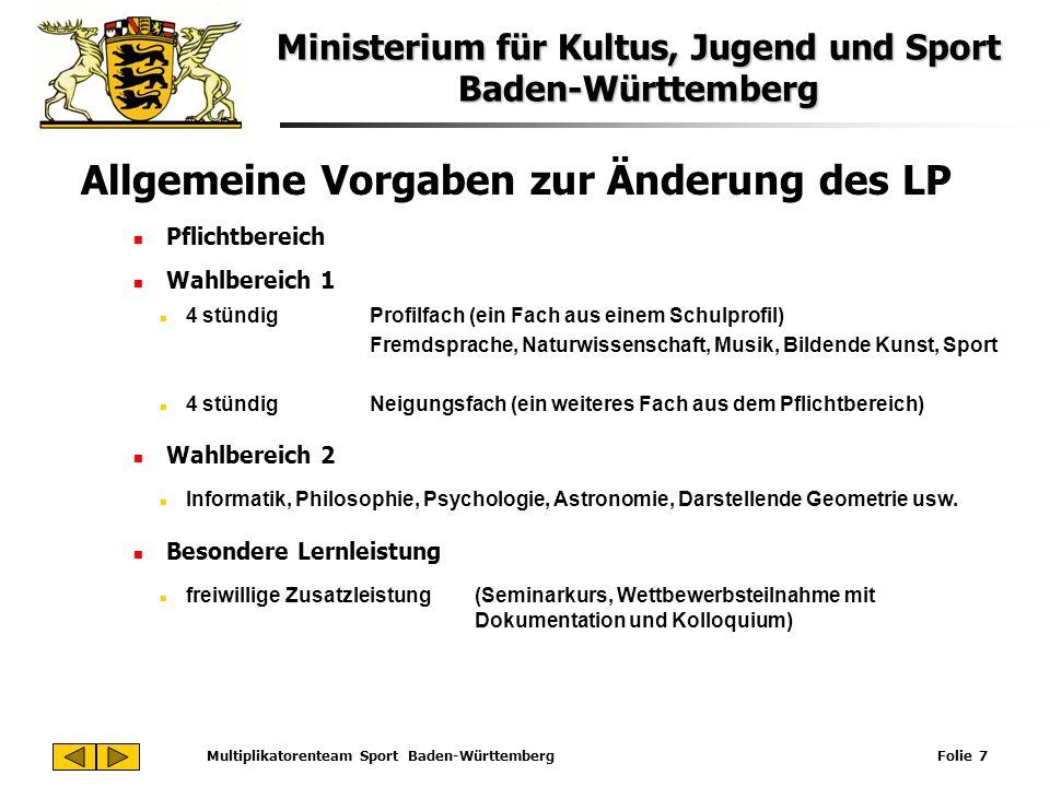 Ministerium für Kultus, Jugend und Sport Baden-Württemberg Multiplikatorenteam Sport Baden-Württemberg Folie 7 Allgemeine Vorgaben zur Änderung des LP