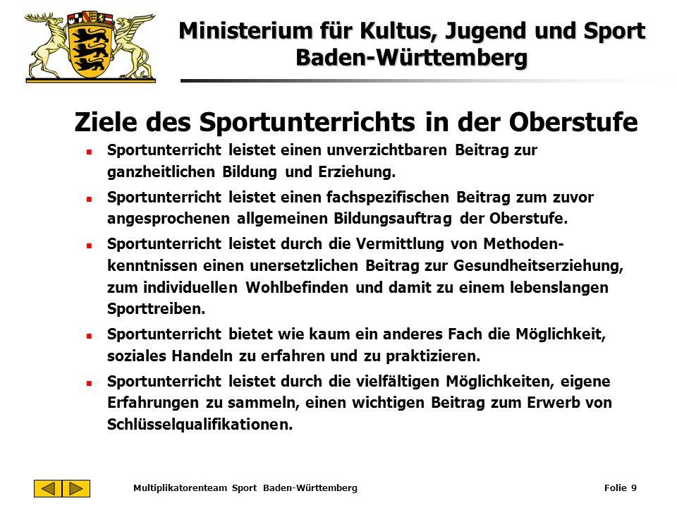 Ministerium für Kultus, Jugend und Sport Baden-Württemberg Multiplikatorenteam Sport Baden-Württemberg Folie 9 Ziele des Sportunterrichts in der Obers