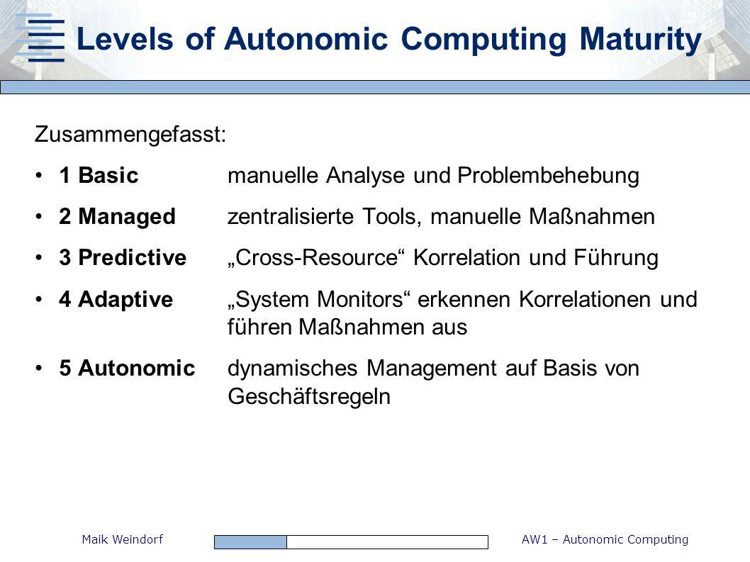 AW1 – Autonomic ComputingMaik Weindorf Zusammengefasst: 1 Basicmanuelle Analyse und Problembehebung 2 Managedzentralisierte Tools, manuelle Maßnahmen
