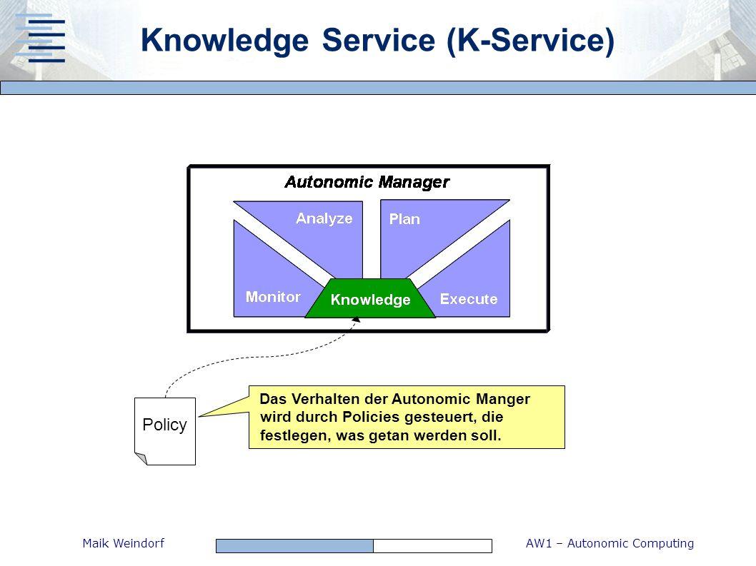 AW1 – Autonomic ComputingMaik Weindorf Knowledge Service (K-Service) Das Verhalten der Autonomic Manger wird durch Policies gesteuert, die festlegen,