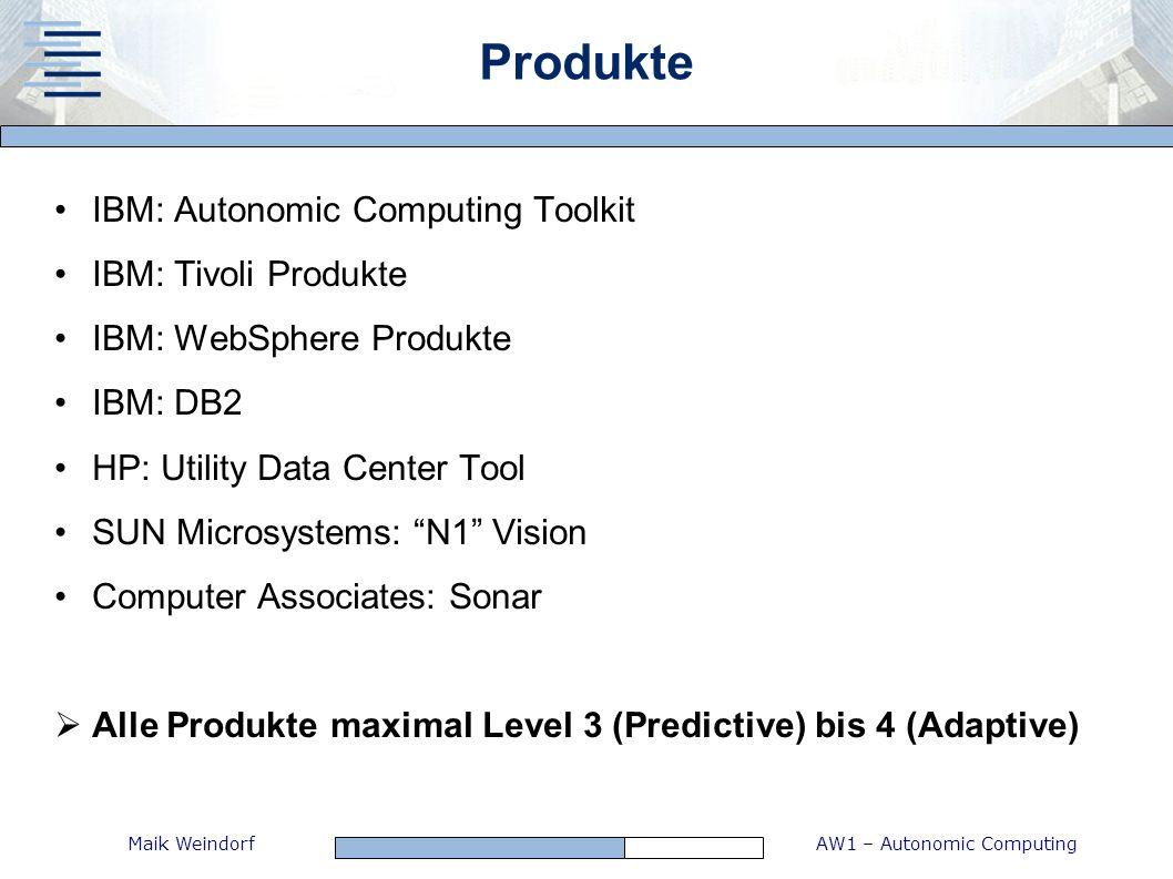 AW1 – Autonomic ComputingMaik Weindorf Produkte IBM: Autonomic Computing Toolkit IBM: Tivoli Produkte IBM: WebSphere Produkte IBM: DB2 HP: Utility Dat