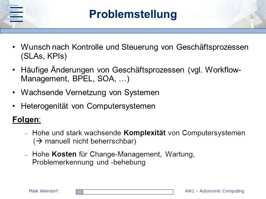 AW1 – Autonomic ComputingMaik Weindorf Problemstellung Wunsch nach Kontrolle und Steuerung von Geschäftsprozessen (SLAs, KPIs) Häufige Änderungen von