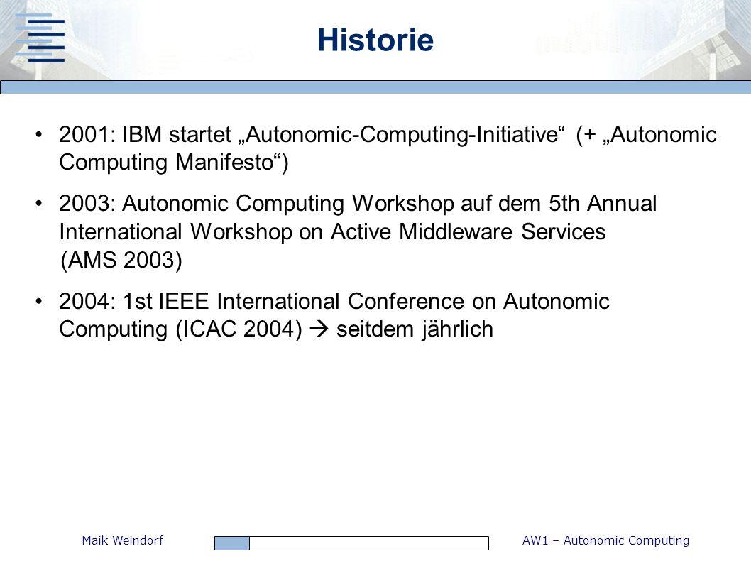 AW1 – Autonomic ComputingMaik Weindorf Historie 2001: IBM startet Autonomic-Computing-Initiative (+ Autonomic Computing Manifesto) 2003: Autonomic Com