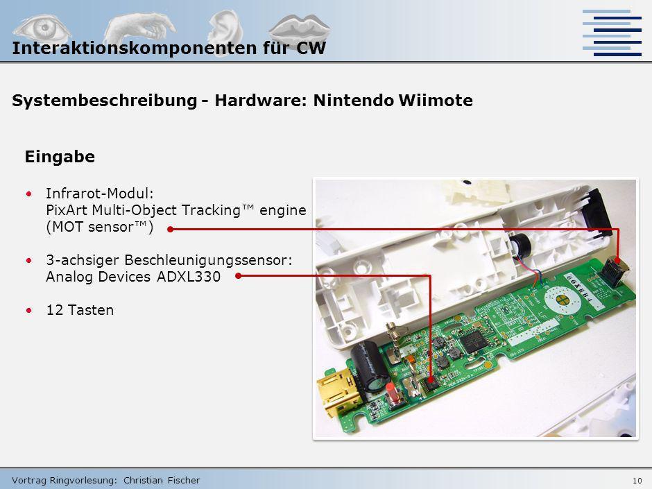 Vortrag Ringvorlesung: Christian Fischer 9 Vorbild für den Grabstick: Wiimote- Controller der Nintento Wii- Console … Zeit, diesen genauer zu betracht