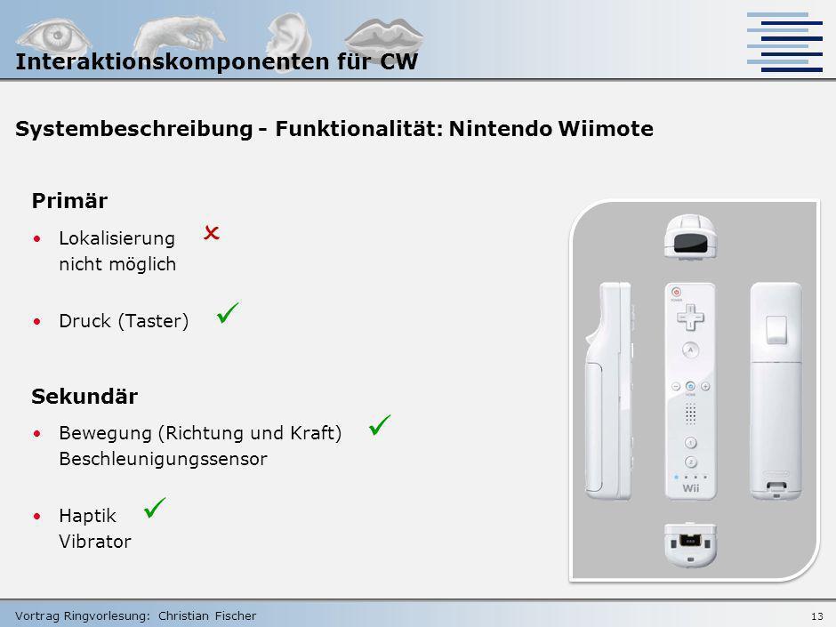 Vortrag Ringvorlesung: Christian Fischer 12 Systembeschreibung - Funktionalität: Nintendo Wiimote Primär Zeigerpositionierung geometrisch in Kombinati