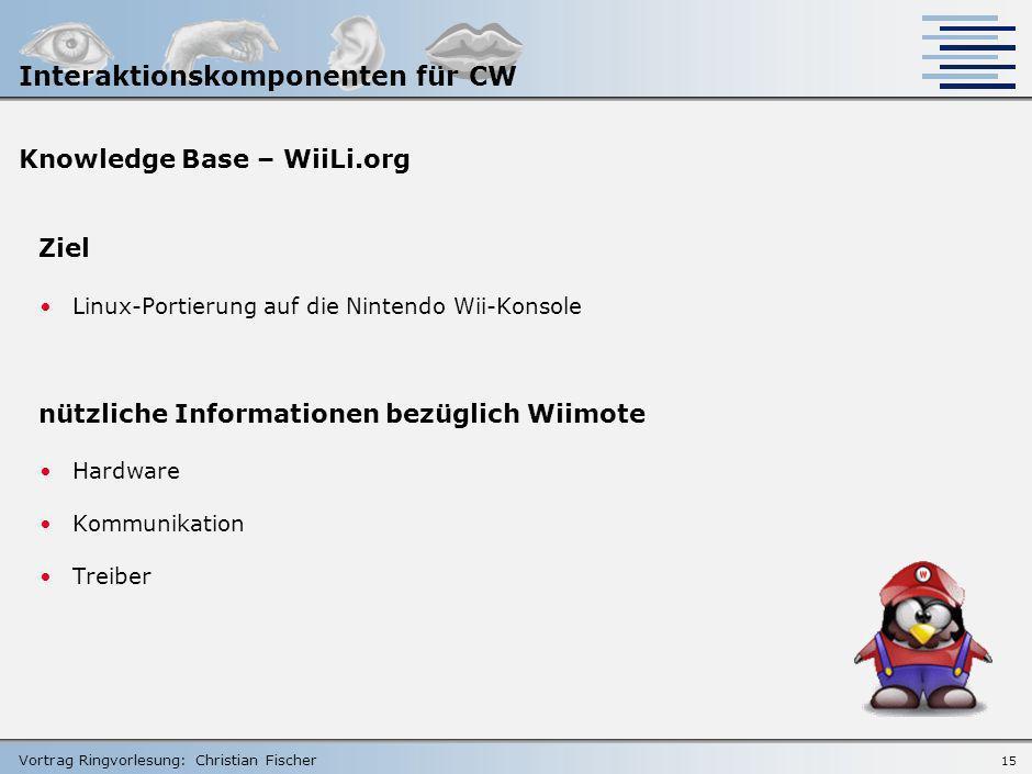 Vortrag Ringvorlesung: Christian Fischer 14 Systembeschreibung - Funktionalität: Nintendo Wii zusätzliche Ausstattung akustische Rückmeldung über Laut