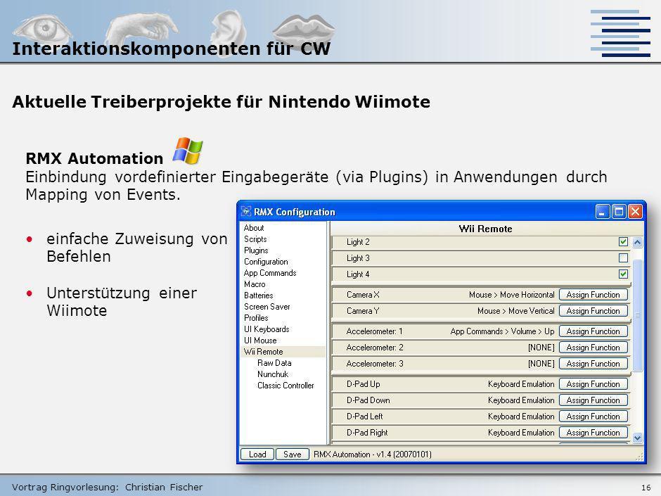 Vortrag Ringvorlesung: Christian Fischer 15 Knowledge Base – WiiLi.org Ziel Linux-Portierung auf die Nintendo Wii-Konsole nützliche Informationen bezü