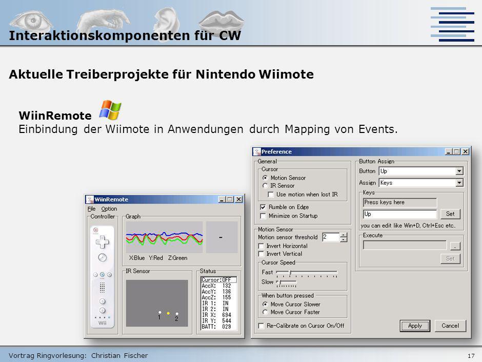 Vortrag Ringvorlesung: Christian Fischer Aktuelle Treiberprojekte für Nintendo Wiimote RMX Automation Einbindung vordefinierter Eingabegeräte (via Plu