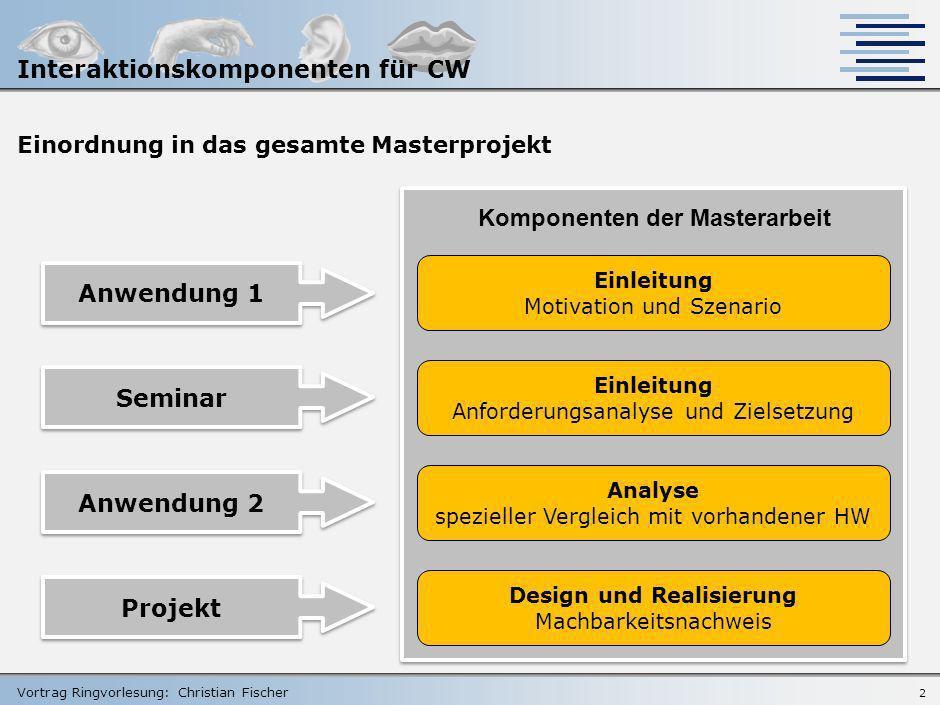 Vortrag Ringvorlesung: Christian Fischer Agenda 1.Einführung Einordnung in das gesamte Masterprojekt 2.Alternative Eingabegeräte (Teil 2) 3.Nintendo W