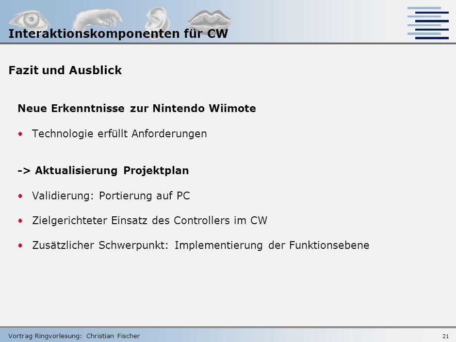 Vortrag Ringvorlesung: Christian Fischer 20 weitere aktuelle Treiberprojekte für Nintendo Wiimote Mac OS X DarwiinRemote Emulation von AppleRemote, ke